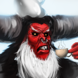 Size: 367x367 | Tagged: safe, artist:assasinmonkey, lord tirek, angry, awesome, glare, gritted teeth, male, nose ring, pun, solo, tea, teacup