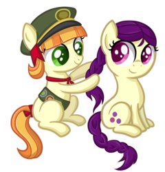 Size: 1656x1728 | Tagged: safe, artist:thecheeseburger, boysenberry, tag-a-long, braiding, cute