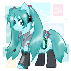 Size: 1000x1000 | Tagged: artist:fuutachimaru, earth pony, female, hatsune miku, mare, ponified, pony, safe, solo, vocaloid