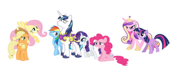 Size: 3396x1524 | Tagged: safe, artist:tigerprincesskaitlyn, applejack, fluttershy, pinkie pie, princess cadance, rainbow dash, rarity, shining armor, twilight sparkle, female, flutterarmor, implied incest, infidelity, male, mane six, manwhore, rariarmor, shining armor gets all the mares, shiningdash, shiningjack, shiningpie, shipping, simple background, straight, swag, vector, white background