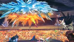 Size: 1920x1080 | Tagged: safe, artist:assasinmonkey, bulk biceps, fluttershy, princess cadance, princess celestia, princess luna, rainbow dash, soarin', spike, spitfire, alicorn, griffon, pegasus, pony, equestria games (episode), crystal stadium, equestria games, female, fire, fire breath, flying, ice, ice cloud, mare, open mouth, scene interpretation, stadium, wallpaper