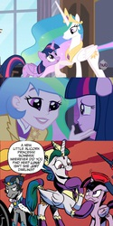 Size: 830x1660 | Tagged: safe, idw, screencap, king sombra, princess celestia, twilight sparkle, equestria girls, princess twilight sparkle (episode), spoiler:comic, comparison, evil celestia, evil luna, good king sombra, mirror universe, principal celestia, twilight cat, twilight sparkle (alicorn)