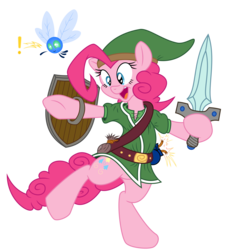 Size: 5460x5970 | Tagged: absurd res, artist:dfectivedvice, artist:twiforce, bipedal, colored, cosplay, dexterous hooves, duo, female, hat, hoof hold, human pose, link, mare, navi, parasprite, paraspritized, pinkie pie, pony, safe, shield, simple background, solo, species swap, sword, the legend of zelda, transparent background, triforce, vector