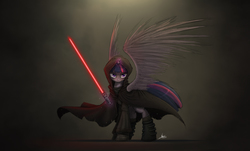 Size: 2625x1590 | Tagged: safe, artist:ncmares, twilight sparkle, alicorn, pony, badass, boots, cloak, clothes, corrupted, corrupted twilight sparkle, crossover, female, glare, hood, lightsaber, magic, mare, palindrome get, robes, sith, solo, spread wings, star wars, telekinesis, twilight is anakin, twilight sparkle (alicorn), tyrant sparkle