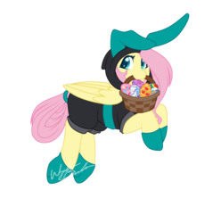 Size: 3487x3513   Tagged: safe, artist:fuyusfox, fluttershy, pegasus, pony, basket, bunny ears, clothes, cute, dangerous mission outfit, easter, easter basket, easter egg, egg, female, holiday, looking at you, mare, mouth hold, simple background, solo, transparent background
