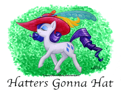 Size: 720x553   Tagged: safe, artist:texasuberalles, rarity, pony, unicorn, eyes closed, feather, female, giant hat, hat, haters gonna hate, mare, meme, pun, signature, solo, traditional art, watercolor painting