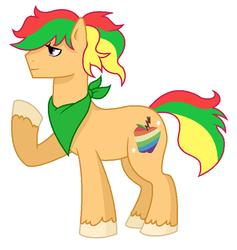 Size: 703x743 | Tagged: safe, artist:unoriginai, oc, oc only, oc:zapple, earth pony, pony, bandana, magical lesbian spawn, male, offspring, parent:apple bloom, parent:scootaloo, parents:scootabloom, simple background, solo, stallion, transparent background