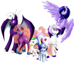 Size: 800x668 | Tagged: safe, artist:arcadianphoenix, oc, oc only, oc:opal flare, oc:prince shining romance, oc:princess morning mist, oc:princess starlight swirl, oc:radiant aegis, oc:sapphire blitz, crystal pony, dracony, hybrid, pegasus, pony, unicorn, flying, interspecies offspring, looking at you, next generation, offspring, parent:flash sentry, parent:princess cadance, parent:princess celestia, parent:rarity, parent:shining armor, parent:spike, parent:twilight sparkle, parents:flashlight, parents:guardlestia, parents:shiningcadance, parents:sparity, raised hoof, rearing, smiling, spread wings