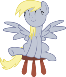 Size: 3000x3471 | Tagged: safe, artist:cheezedoodle96, derpy hooves, pegasus, pony, testing testing 1-2-3, chair, cute, derpabetes, eyes closed, female, mare, simple background, solo, spread wings, stool, stooldash, transparent background, vector