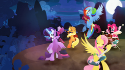 Size: 1920x1080 | Tagged: safe, artist:rariedash, applejack, discord, fluttershy, pinkie pie, rainbow dash, rarity, twilight sparkle, zecora, alicorn, earth pony, pegasus, pony, unicorn, zebra, back to back, band, bedroom eyes, bipedal, cowboy hat, cutie mark, drums, eyes closed, female, flying, full moon, glowing horn, grin, gritted teeth, guitar, hat, hooves, horn, levitation, lineless, magic, mane six, mare, microphone, moon, musical instrument, night, night sky, open mouth, ponyville, singing, sky, smiling, spread wings, stage, stars, teeth, telekinesis, tree, twilight sparkle (alicorn), wide eyes, wings