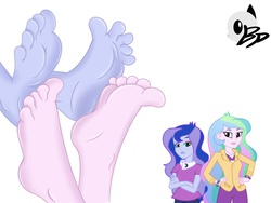 Size: 2048x1536 | Tagged: safe, artist:bronypanda, princess celestia, princess luna, principal celestia, equestria girls, barefoot, feet, foot fetish, foot focus, footsie, humanized, soles, toes