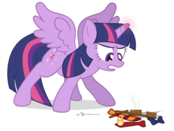 Size: 960x720 | Tagged: alicorn, angry, artist:dm29, bowtie, female, fire, frown, glare, gritted teeth, lord tirek, mare, necktie, pony, pun, safe, simple background, solo, spread wings, transparent background, twilight's kingdom, twilight sparkle, twilight sparkle (alicorn), visual pun