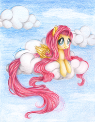 Size: 2759x3522 | Tagged: dead source, safe, artist:vird-gi, fluttershy, pegasus, pony, cloud, cloudy, female, folded wings, high res, long tail, looking at you, lying down, mare, on a cloud, outdoors, prone, sky, sky background, smiling, solo, three quarter view, traditional art, wings