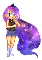 Size: 688x997 | Tagged: safe, artist:mynameisbre1, princess luna, human, clothes, galaxy mane, humanized, kneesocks, missing shoes, pixiv, shorts, simple background, socks, solo, striped socks