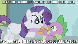 Size: 717x403 | Tagged: safe, edit, edited screencap, screencap, rarity, spike, dragon, pony, unicorn, the ticket master, duo, gala ticket, image macro, meme, off model, ticket, willy wonka and the chocolate factory