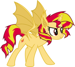 Size: 7313x6525 | Tagged: safe, artist:elsia-pony, sunset shimmer, bat pony, pony, absurd resolution, race swap, shimmerbat, solo
