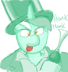 Size: 638x677 | Tagged: artist:redanon, clothes, derp, harpo marx, hat, honk, honk honk, hoof hold, horn, lyra heartstrings, marx brothers, :p, parish nandermane, reply art, rule 63, safe, simple background, smiling, solo, tongue out, top hat, wat, white background