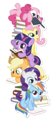 Size: 324x716 | Tagged: safe, artist:dm29, applejack, fluttershy, pinkie pie, rainbow dash, rarity, twilight sparkle, book, cute, dashabetes, diapinkes, female, filly, filly applejack, filly fluttershy, filly pinkie pie, filly rainbow dash, filly rarity, filly twilight sparkle, jackabetes, julian yeo is trying to murder us, lying down, mane six, on back, raribetes, shyabetes, simple background, sticker, tower of books, tower of pony, transparent background, twiabetes, younger