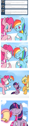 Size: 700x2968 | Tagged: safe, artist:lustrous-dreams, applejack, pinkie pie, rainbow dash, twilight sparkle, ask filly twilight, ask, clothes, comic, filly, magic, scarf, snow, snowball, snowball fight, snowfall, tumblr, younger