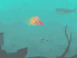 Size: 1600x1200 | Tagged: dead source, safe, artist:berrydrops, pinkie pie, earth pony, fish, pony, whale, diving, female, green, helmet, mare, ocean, scuba gear, solo, underwater