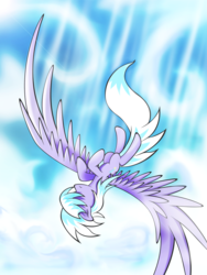 Size: 3000x4000 | Tagged: safe, artist:flamevulture17, cloudchaser, pegasus, pony, cloud, falling, female, flying, large wings, mare, sky, solo, spread wings, trail, upside down, wings