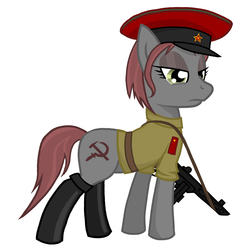 Size: 2000x2000   Tagged: safe, oc, oc only, oc:veronika, boots, clothes, communism, gun, hammer and sickle, hat, ppsh-41, rivalry, shirt, solo, submachinegun, weapon