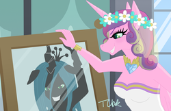 Size: 1111x719 | Tagged: safe, artist:teaganlouise, queen chrysalis, changeling, anthro, a canterlot wedding, disguise, disguised changeling, fake cadance, mirror, scene interpretation, the little mermaid, this day aria