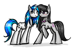 Size: 1280x833 | Tagged: safe, artist:clrb, dj pon-3, octavia melody, vinyl scratch, blushing, boop, eyes closed, female, lesbian, noseboop, nuzzling, raised hoof, scratchtavia, shipping, smiling