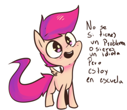Size: 1280x1105 | Tagged: safe, scootaloo, female, preguntascootaloo, simple background, solo, spanish, translated in the comments, transparent background