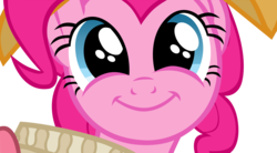 Size: 5416x3000 | Tagged: :), artist:azure-vortex, brilliant face, chancellor puddinghead, close-up, face, faic, looking at you, pinkie pie, portrait, safe, simple background, smiling, solo, transparent background, vector