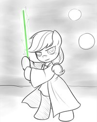 Size: 800x1000 | Tagged: safe, artist:drawponies, applejack, pony, semi-anthro, bipedal, cute, hatless, jackabetes, jedi, lightsaber, missing accessory, monochrome, neo noir, partial color, solo, star wars, tatooine, weapon