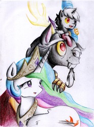 Size: 1129x1538 | Tagged: safe, artist:hikariviny, discord, princess celestia, oc, oc:chaotic, hybrid, dislestia, featured image, female, fluffy, heterochromia, interspecies offspring, male, offspring, open mouth, parent:discord, parent:princess celestia, parents:dislestia, pony hat, shipping, smiling, straight, traditional art, wink
