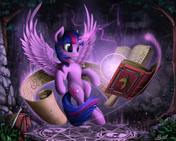 Size: 2000x1600 | Tagged: safe, artist:yakovlev-vad, twilight sparkle, alicorn, pony, art, bag, book, female, flower, flying, gem, human shoulders, magic, magic circle, mare, necklace, pentagram, reading, scroll, smiling, solo, spread wings, sword, tree, twilight sparkle (alicorn), weapon