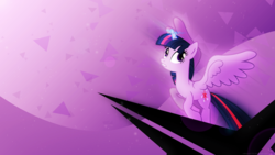 Size: 1920x1080   Tagged: safe, artist:masem, artist:mithandir730, twilight sparkle, alicorn, pony, female, magic, mare, solo, triangle, twilight sparkle (alicorn), vector, wallpaper