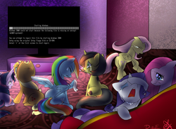 Size: 908x664 | Tagged: safe, applejack, fluttershy, pinkie pie, rainbow dash, rarity, twilight sparkle, oc, oc:pauly sentry, mane six, meme, sad movie meme, windows, windows 2000