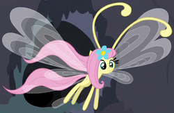 Size: 709x463 | Tagged: safe, screencap, fluttershy, breezie, it ain't easy being breezies, breeziefied, cute, diabreezies, flower, flutterbreez, outfit catalog, shyabetes, solo, species swap