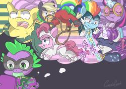 Size: 4961x3508 | Tagged: safe, artist:geckogeek, applejack, fili-second, fluttershy, humdrum, masked matter-horn, mistress marevelous, pinkie pie, radiance, rainbow dash, rarity, saddle rager, spike, twilight sparkle, zapp, alicorn, pony, power ponies (episode), comic book, female, flutterhulk, mane seven, mane six, mare, power ponies, twilight sparkle (alicorn), unmasked