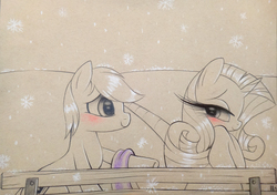 Size: 1118x786 | Tagged: safe, artist:prettypinkpony, rarity, oc, bedroom eyes, blushing, canon x oc, clothes, eyelashes, monochrome, neo noir, partial color, scarf, sitting, smiling, snow, snowfall, snowflake
