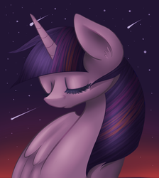 Size: 1132x1262 | Tagged: alicorn, artist:alleynurr, female, mare, meteor shower, pony, safe, shooting star, solo, stars, twilight sparkle, twilight sparkle (alicorn)