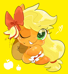 Size: 480x525 | Tagged: safe, artist:29axa, applejack, pony, apple, apple slice, bow, bust, cute, female, food, hair bow, heart, jackabetes, looking at you, mare, one eye closed, pixiv, portrait, ribbon, simple background, smiling, solo, sweat, sweatdrop, wink, yellow background