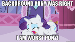 Size: 1280x720   Tagged: safe, rarity, female, image macro, meme, mouthpiece, op is a duck, op is trying to start shit, poe's law, solo, worst pony