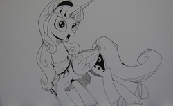 Size: 1280x788 | Tagged: safe, artist:cs, princess luna, alicorn, lunadoodle, alternate hairstyle, artemis luna, clothes, female, looking at you, mare, monochrome, open mouth, solo, traditional art
