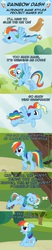 Size: 1066x5106 | Tagged: safe, artist:nightmaremoons, rainbow dash, pegasus, pony, ask pun, accessory swap, alternate hairstyle, blushing, care mare, comic, cowboy hat, dynamic dash, eyes closed, female, floppy ears, forthright filly, hat, hilarious in hindsight, mane swap, manebow sparkle, mare, open mouth, rainbow fash, smiling, solo, teeth, the worst possible thing, tree, wings