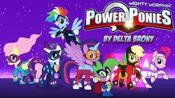 Size: 1920x1080 | Tagged: safe, artist:dashiemlpfim, artist:moonlight-pen, artist:vector-brony, applejack, fili-second, fluttershy, humdrum, masked matter-horn, mistress marevelous, pinkie pie, radiance, rainbow dash, rarity, saddle rager, spike, twilight sparkle, zapp, alicorn, pony, power ponies (episode), clothes, costume, female, horseshoes, logo, mane seven, mane six, mare, mighty morphin power rangers, power ponies, twilight sparkle (alicorn), wallpaper