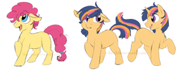Size: 1000x400 | Tagged: safe, artist:the-chibster, oc, oc only, earth pony, pony, unicorn, colt, floppy ears, freckles, frown, hubbyjack, looking up, magical lesbian spawn, male, offspring, open mouth, parent:applejack, parent:pinkie pie, parent:twilight sparkle, parents:applepie, parents:twijack, raised hoof, raised leg, smiling, twins