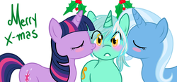 Size: 1280x597 | Tagged: artist:azure-doodle, artist:vaderpl, blushing, blush sticker, eyes closed, female, holly, holly mistaken for mistletoe, kissing, kiss on the cheek, kiss sandwich, lesbian, lyra heartstrings, mare, merry christmas, pony, safe, sexually confused lyra, shipping, simple background, trixie, twilight sparkle, twyra, unicorn, white background