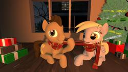 Size: 1280x720 | Tagged: safe, artist:mrderpinhooves, derpy hooves, doctor whooves, time turner, pegasus, pony, 3d, christmas, christmas tree, clothes, cute, doctorderpy, female, happy, hearth's warming eve, male, mare, present, scarf, shared clothing, shared scarf, shipping, source filmmaker, straight, tree, winter