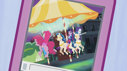 Size: 1366x768 | Tagged: safe, screencap, pinkie pie, rarity, twilight sparkle, equestria girls, perfect day for fun, rainbow rocks, balloon, boots, bracelet, carousel, clothes, high heel boots, human ponidox, jewelry, skirt