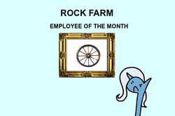 Size: 600x398 | Tagged: safe, artist:wollap, trixie, pony, unicorn, disgruntled, employee of the month, female, mare, rock farm, solo, wheel, wheels trixie