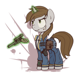 Size: 1024x1007 | Tagged: safe, artist:inlucidreverie, oc, oc only, oc:littlepip, pony, unicorn, fallout equestria, blood splatter, clothes, fallout, fanfic, fanfic art, female, freckles, frown, glare, glowing horn, gun, handgun, holster, hooves, horn, jumpsuit, levitation, little macintosh, magic, mare, optical sight, pipbuck, revolver, saddle bag, simple background, solo, telekinesis, transparent background, vault suit, weapon